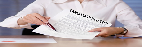 Cancellation letter is used to cancel order, contract