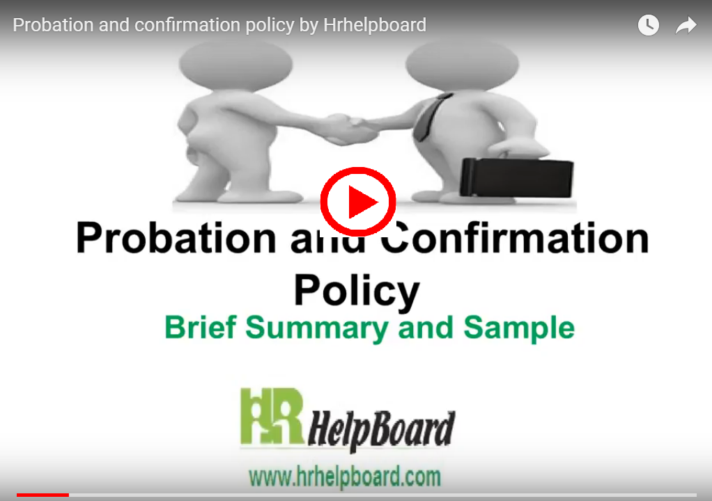 Probation and confirmation policy by Hrhelpboard